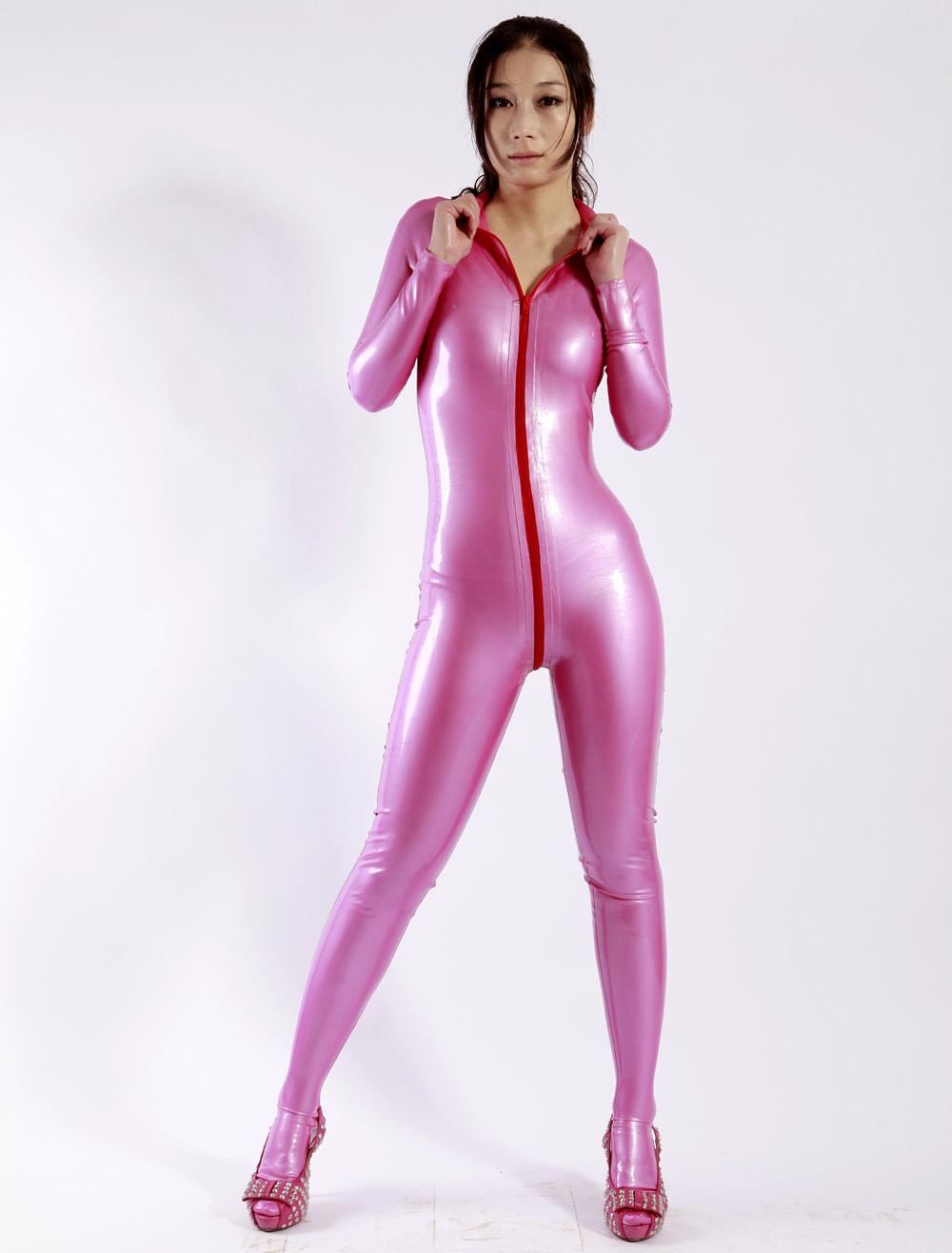Catsuit de latex rosa Halloween - Milanoo.com
