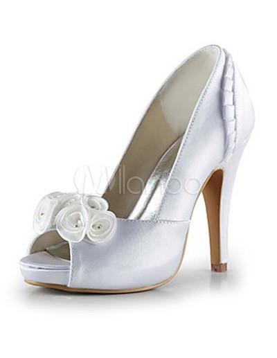 White Flowers Platform Satin Bridal Wedding Shoes