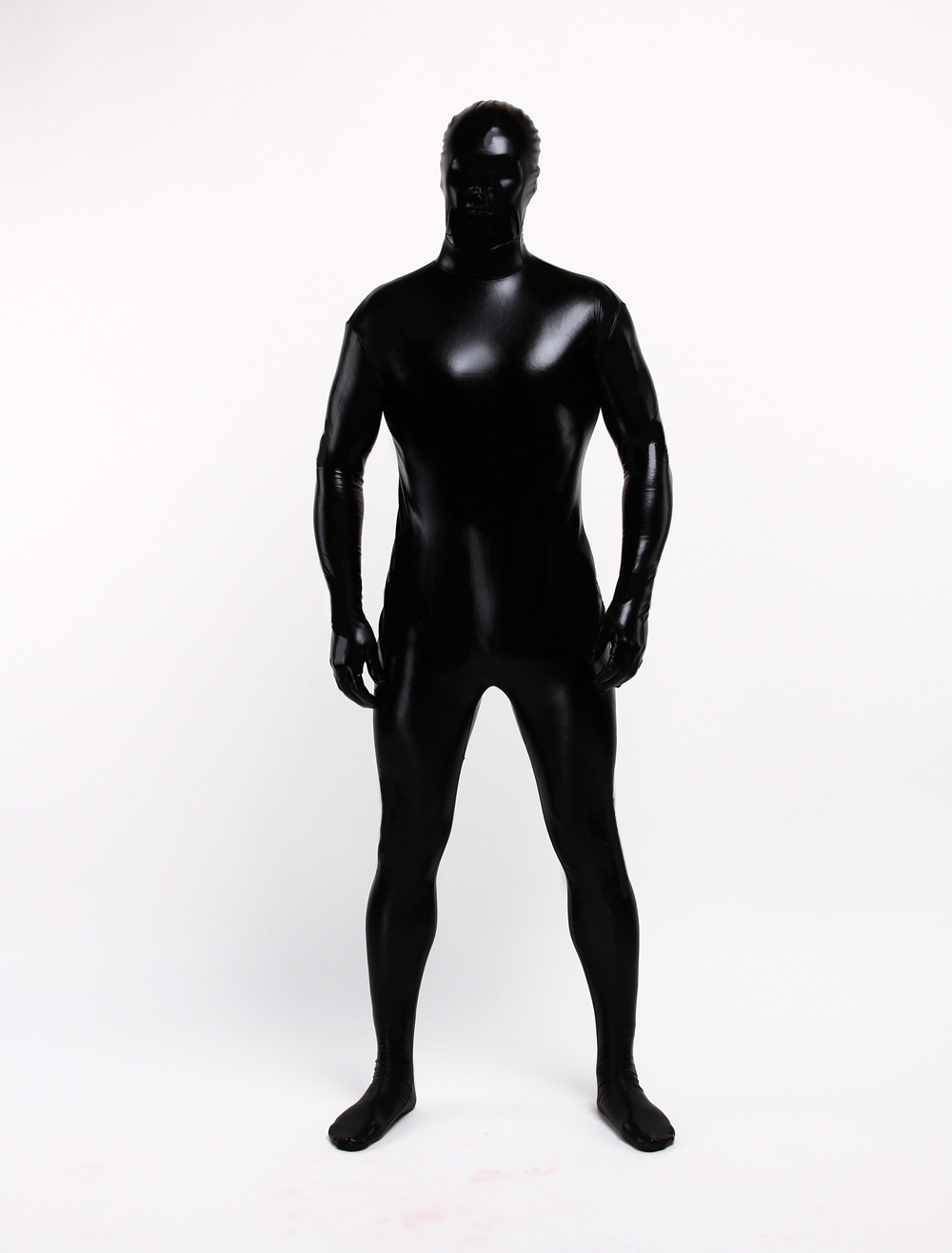 Halloween Zentai Suit Black Shiny Metallic Unisex Full Bodysuit