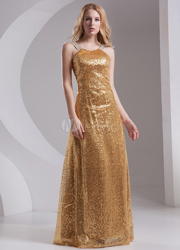 Glitter Gold Sequined Halter Fashion Evening Dress