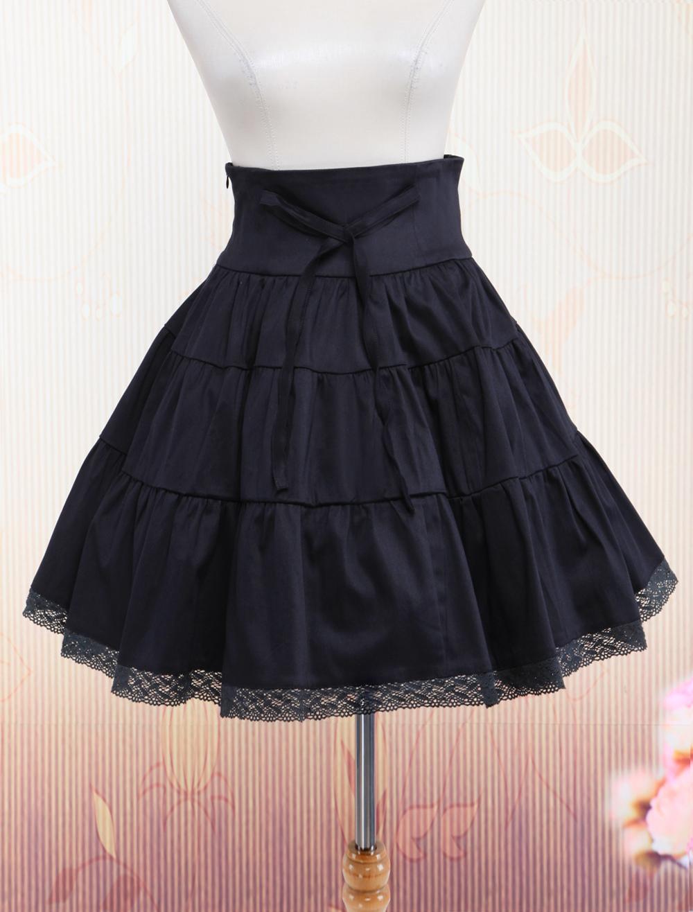 Black Cotton Crocheted Lace Lolita Skirt