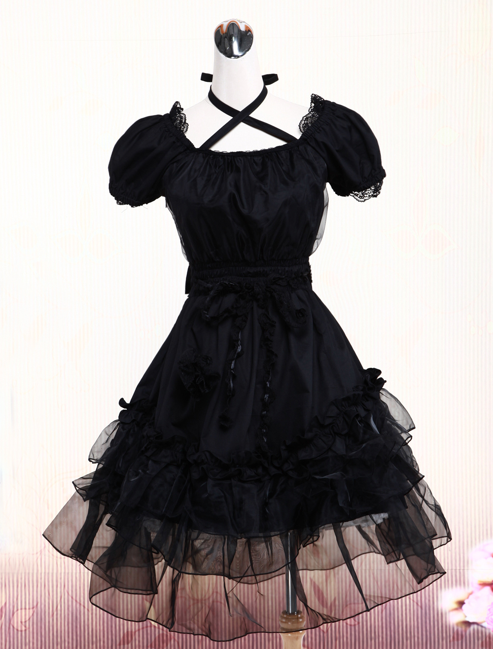 Buy Pure Black Lolita One-piece Dress Short Sleeves Lace Trim Neck Straps for $72.89 in Milanoo store