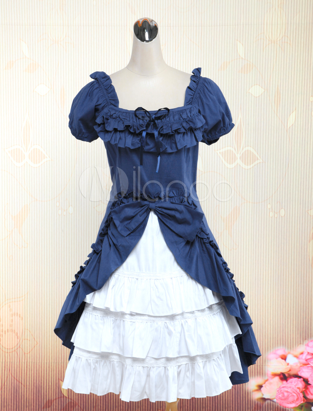 Buy Classic Navy Blue Short Sleeves Ruffles Cotton Lolita Dress for $87.99 in Milanoo store