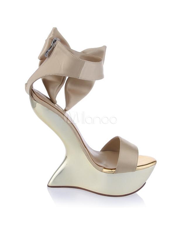 Sandali eleganti dorati con punta aperta per donna Precio Barato Para La Venta Comprar Barato Disfrutan Clásico Barato iWIqgqrH