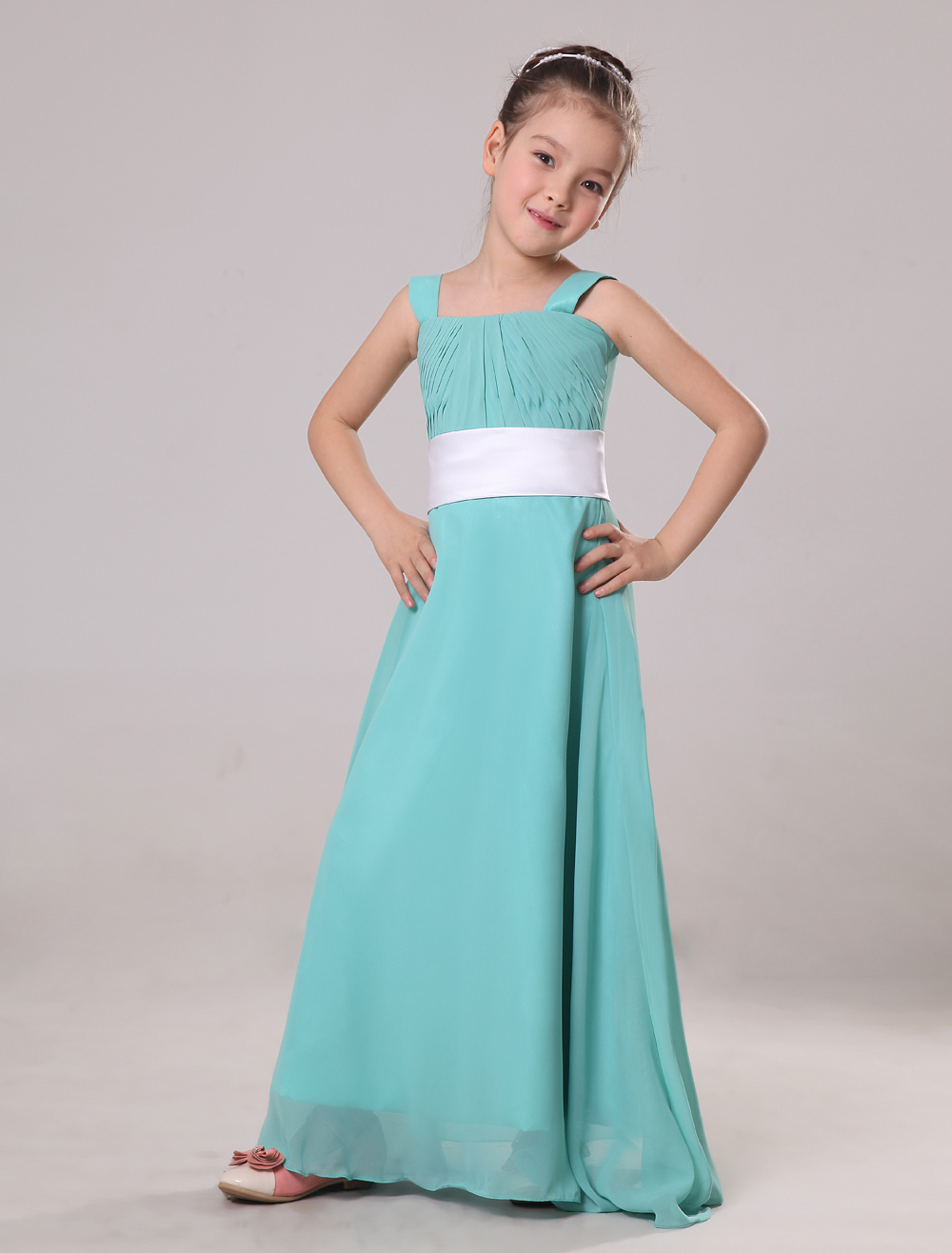 Chiffon Floor Length Junior Bridesmaid Dress - Milanoo.com