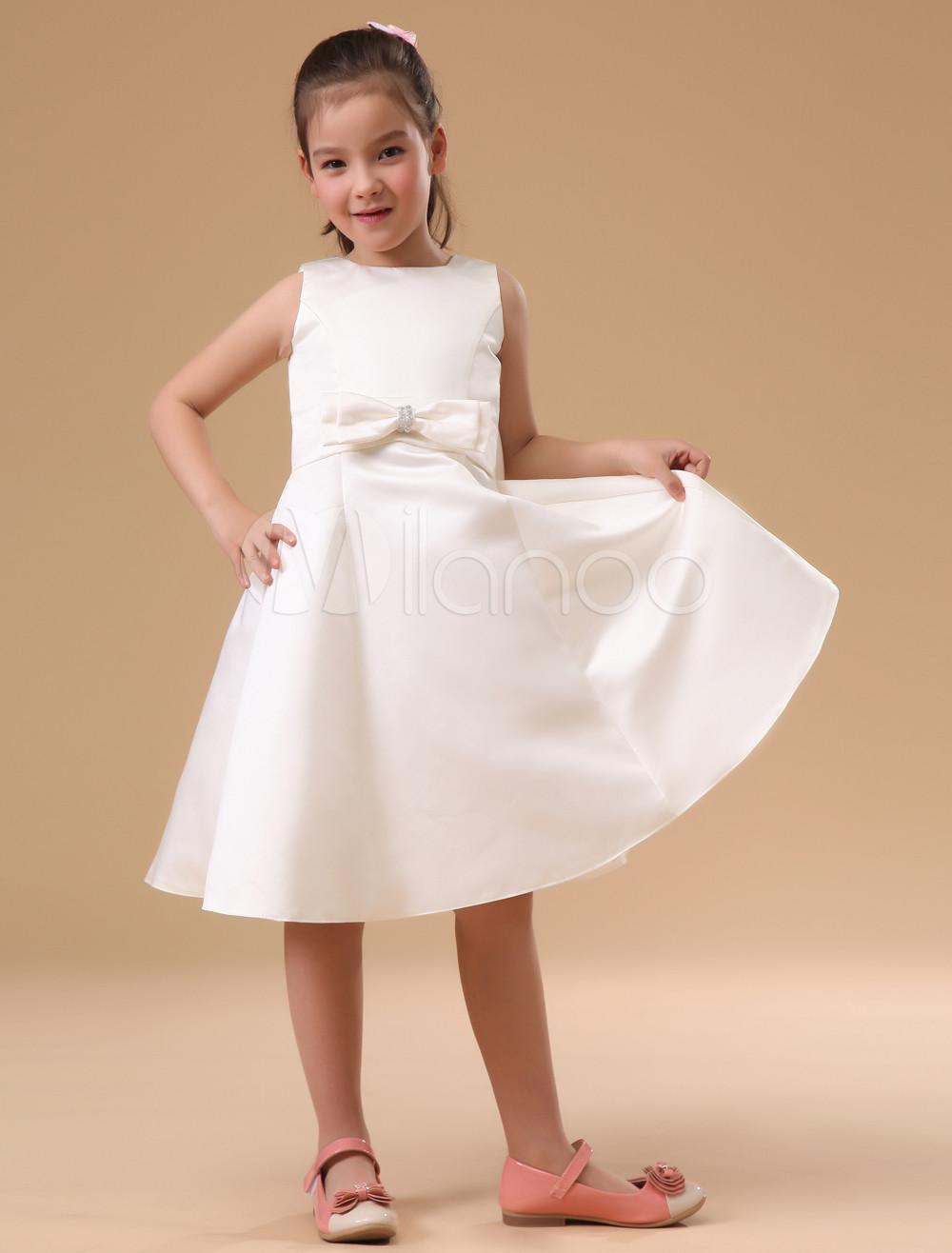 Buy Fashion Ivory Satin Flower Girl Dress for $62.99 in Milanoo store