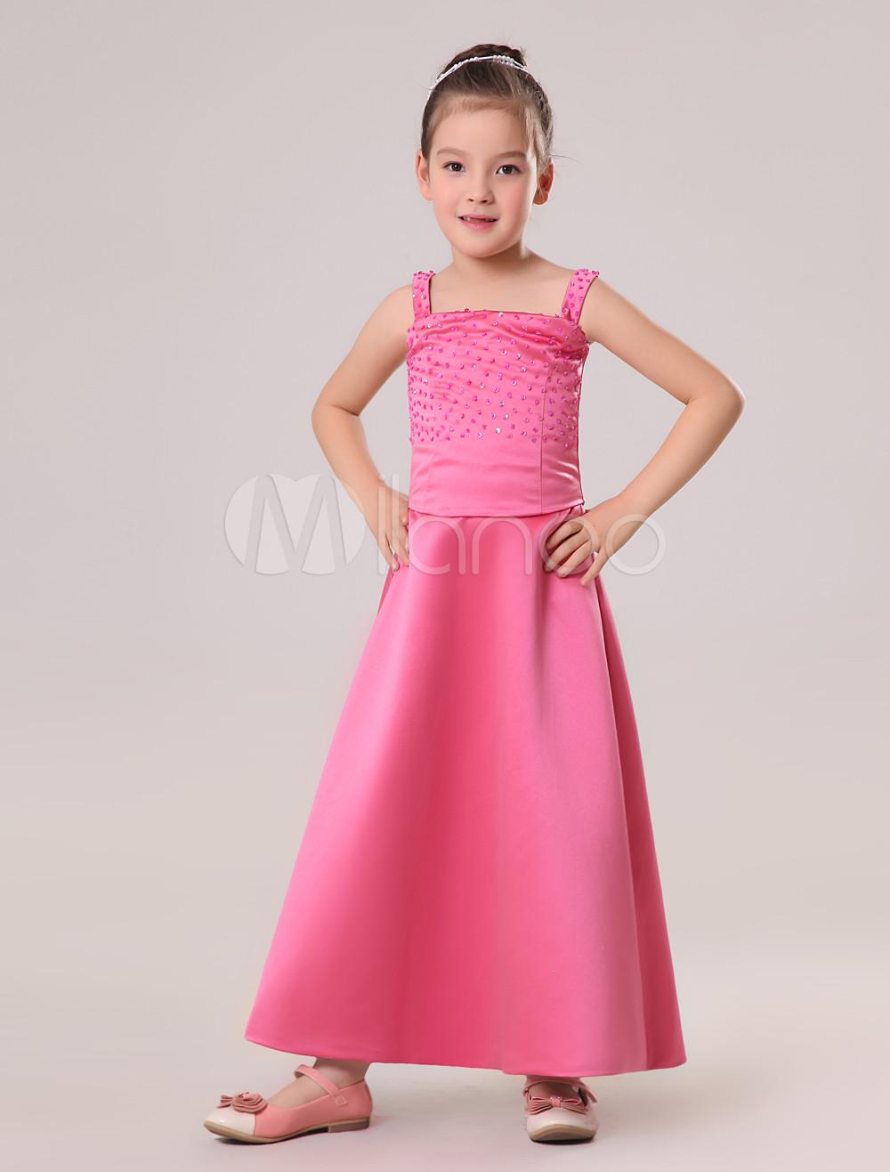 Vestido de damitas de satén satinado de color rosa con tirantes de ...