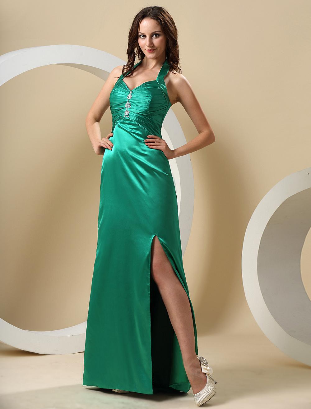 Hunter Green Halter Floor Length Elastic Woven Satin Prom Dress