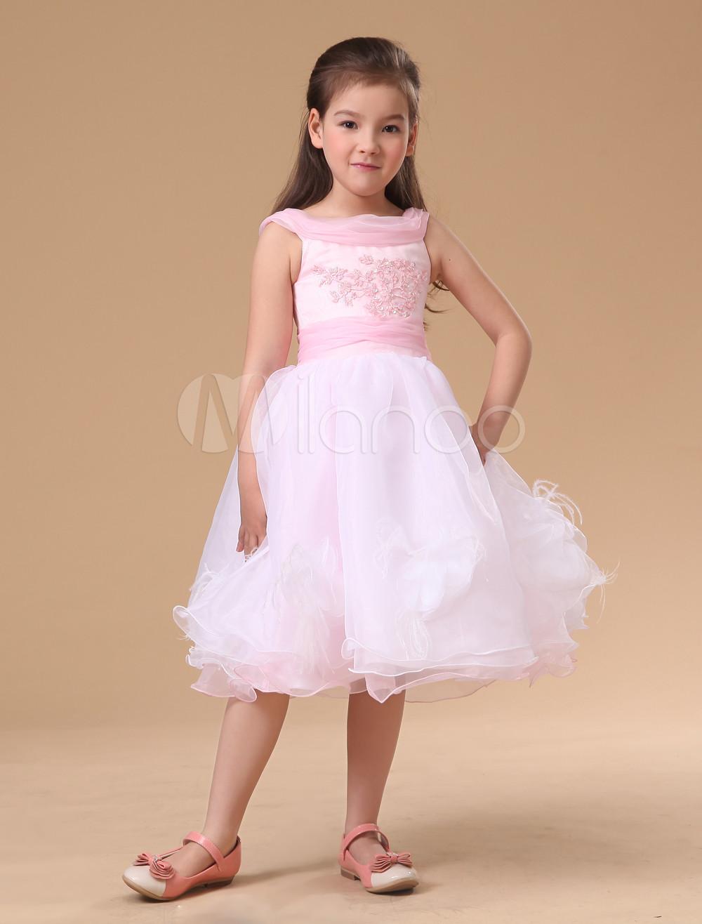 Pink Sleeveless Satin Organza Lace Flower Girl Dress Milanoo