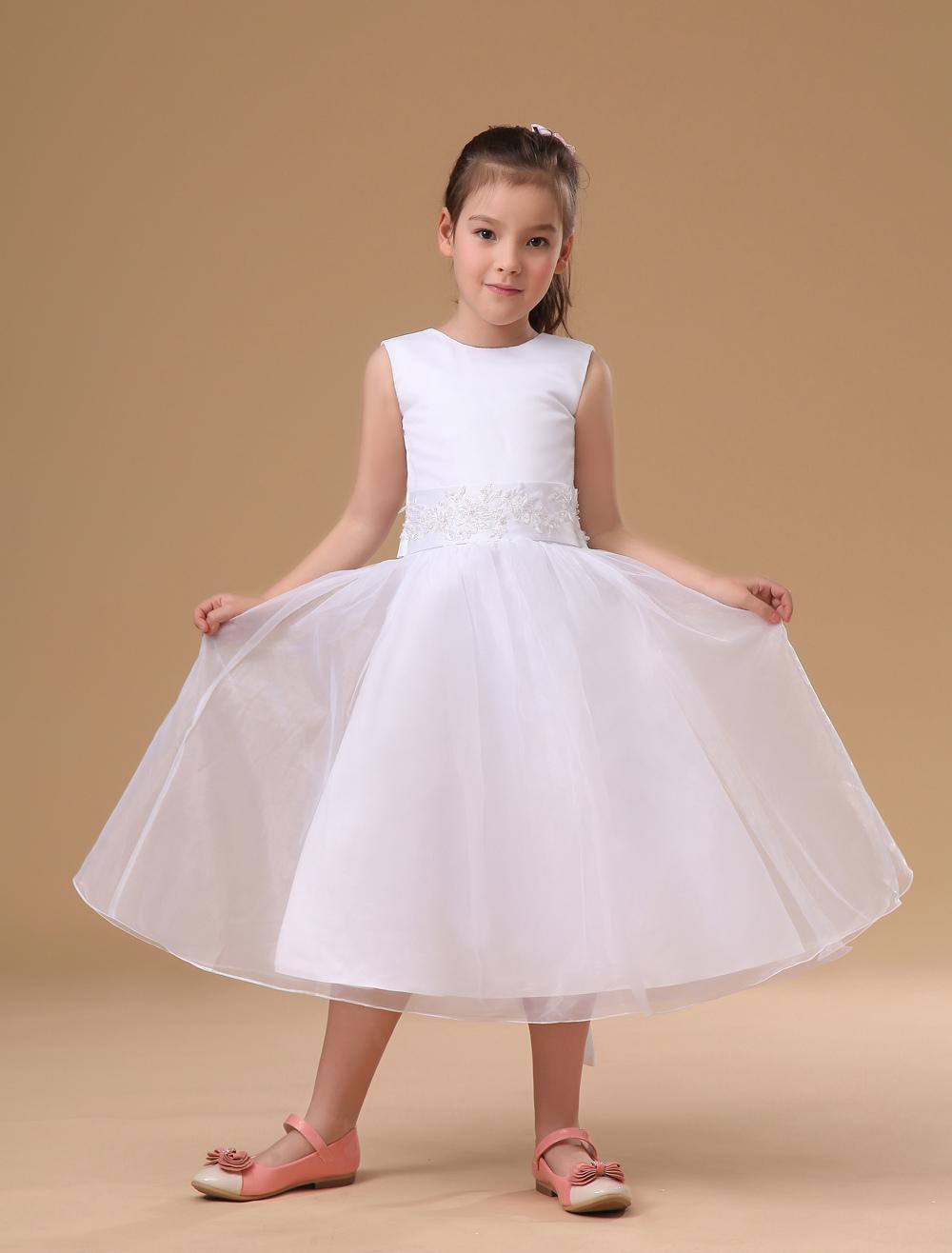 Buy Sweet Ivory Satin Flower Girl Dress for $70.29 in Milanoo store