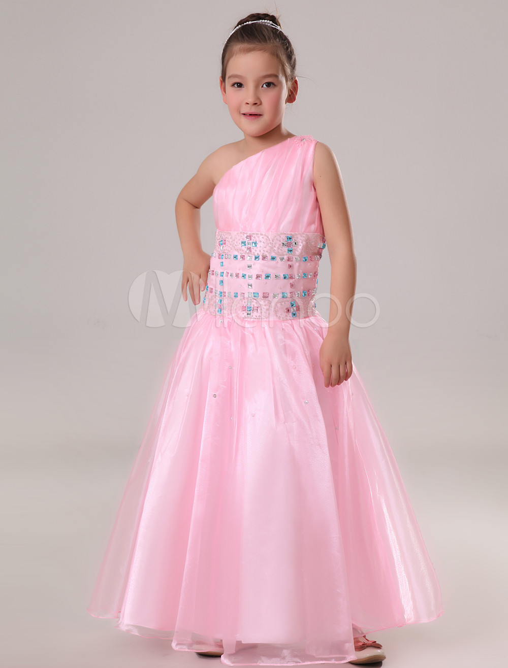 Vestido formal para niñas de organdí rosado - Milanoo.com