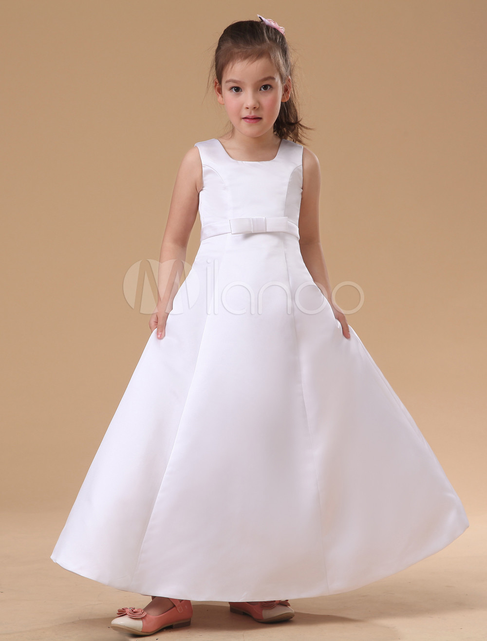 Sweet White A Line Sash Satin Flower Girl Dress Milanoo