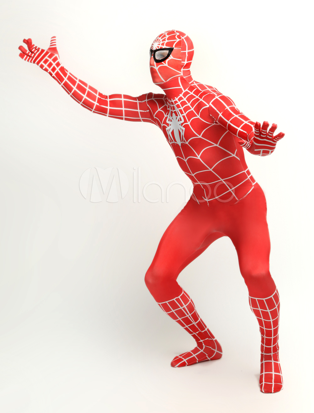 ... Halloween Red Lycra Spandex Unisex Spiderman Costume Suit Outfit Zentai  with White Stripe Halloween-No. 1. 30%OFF