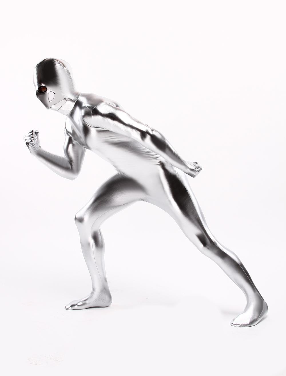 Silver Shiny Metallic Zentai Suit Halloween Costume Cosplay Halloween