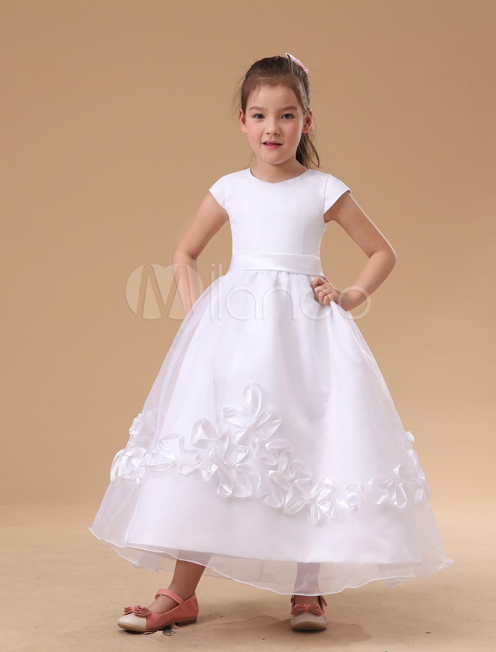 e4c0a45b6a6 Charming White Embroidery Satin Flower Girl Dress - Milanoo.com
