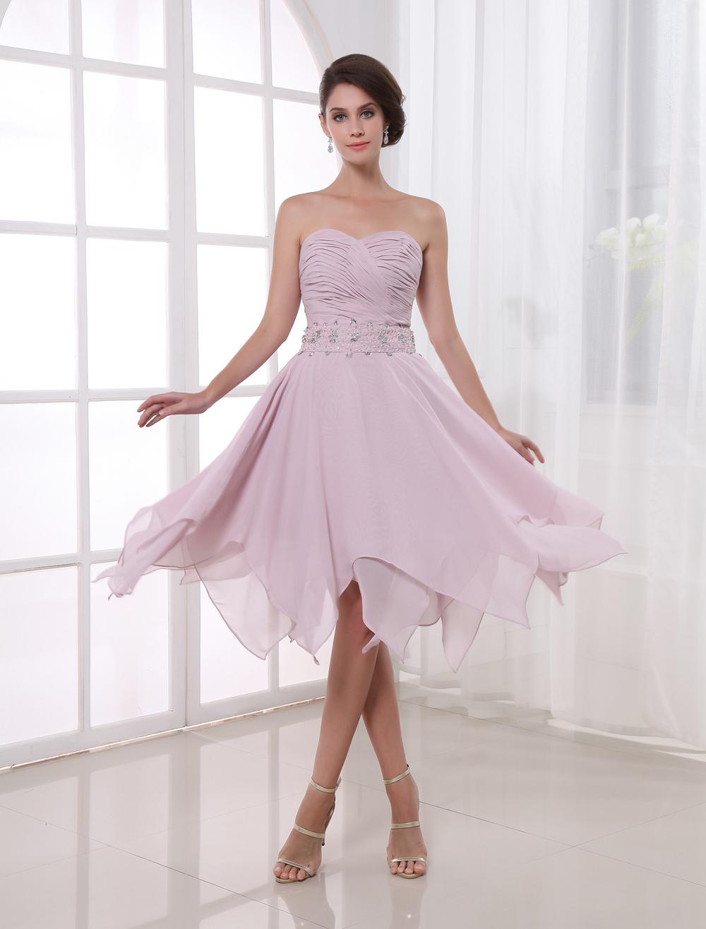 A-line Pink Chiffon Asymmetrical Women's Prom Dress