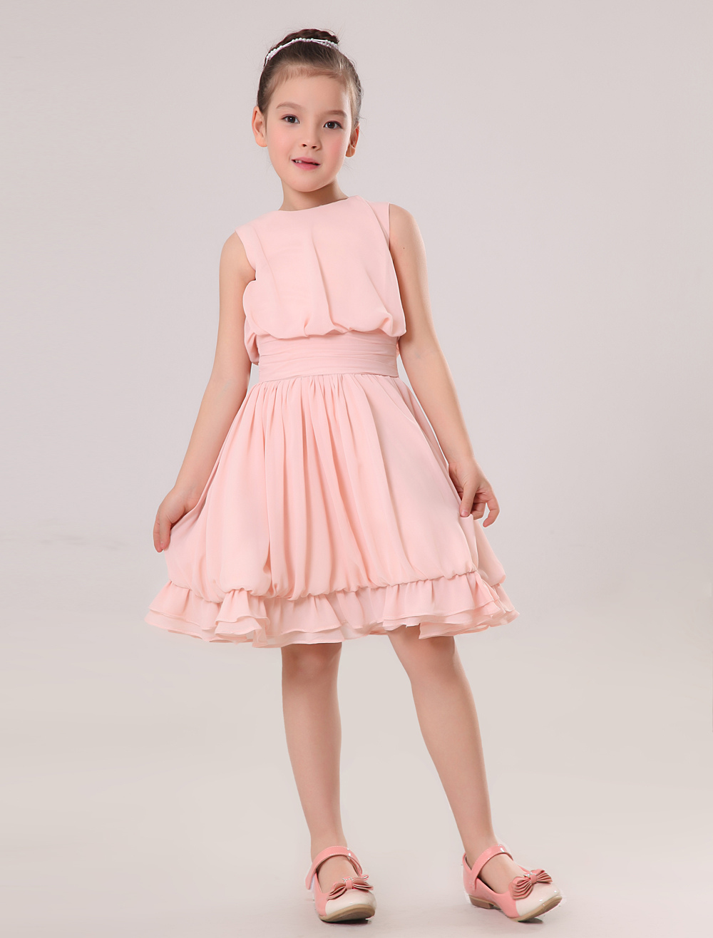 Peach flower girl dresses chiffon a line knee length toddlers peach flower girl dresses chiffon a line knee length toddlers dinner dress milanoo ombrellifo Images