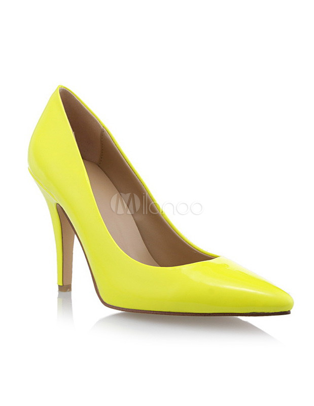 Yellow PU Leather Pumps Pointed Toe High Heels
