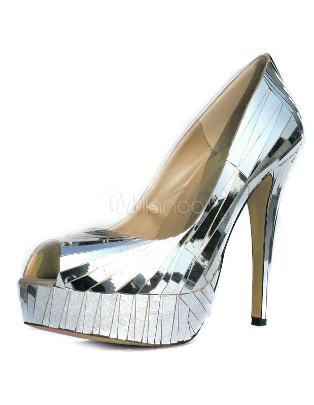 62f17a840fc Shiny Silver Sheepskin Women s Peep Toe Mirrored Pumps - Milanoo.com
