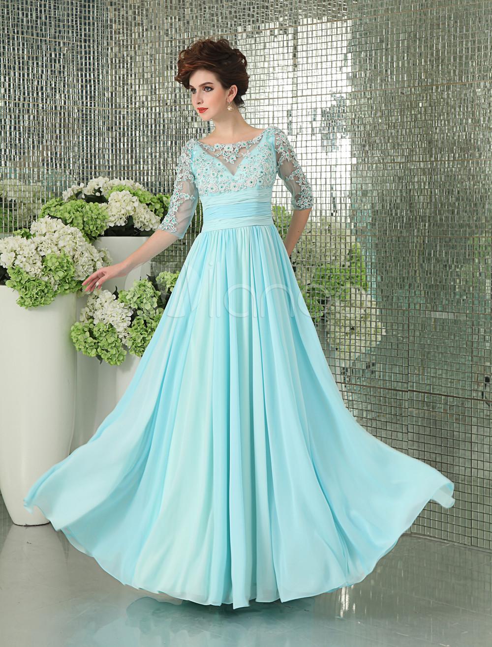 Mint Green Prom Dress Illusion Half Sleeve Chiffon Evening Dress Lace Beading  Floor Length Formal Dress  Milanoo