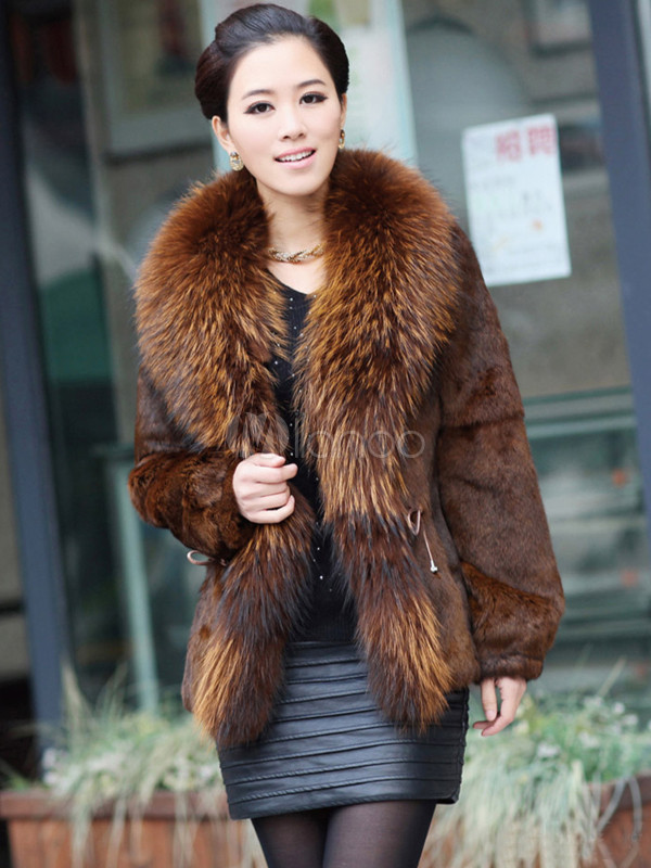 Modern Tan Racoon Collar Cony Hair V-neck Women's Fur Coat ...