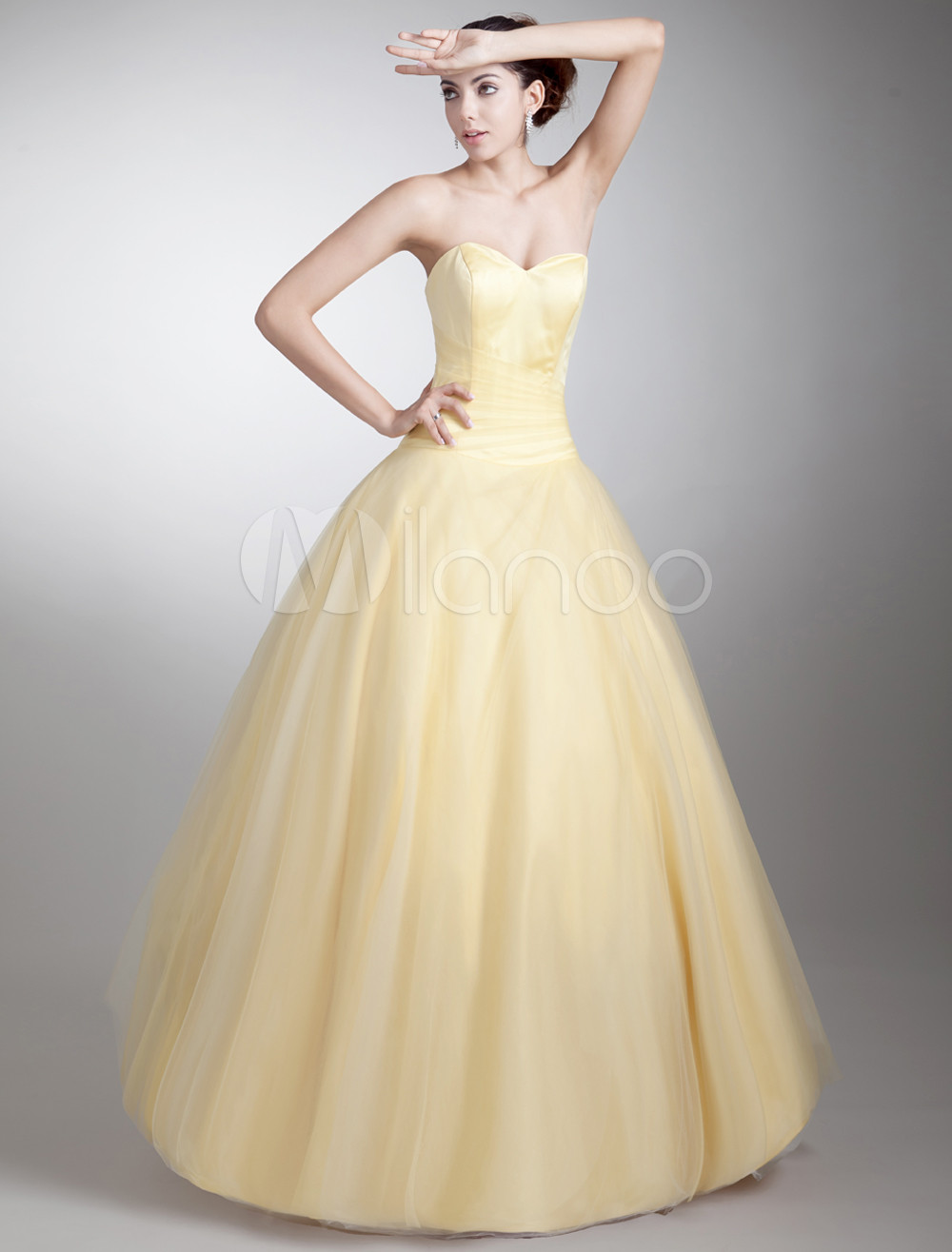 6854617e4580 Ball Gown Daffodil Sweetheart Neck Tiered Net Prom Dress - Milanoo.com