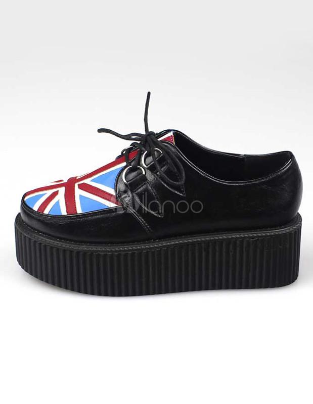 df4b3118572 Black Patriotic Printing PU Leather Women s Platform Creeper Shoes-No. ...