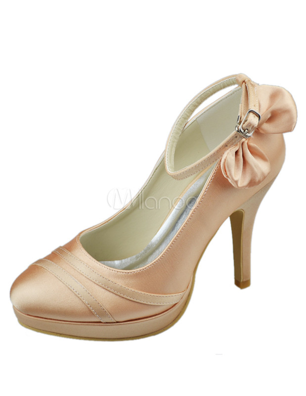 champagne wedding shoes champagne bow chunky heel satin bridal shoes milanoo 2552