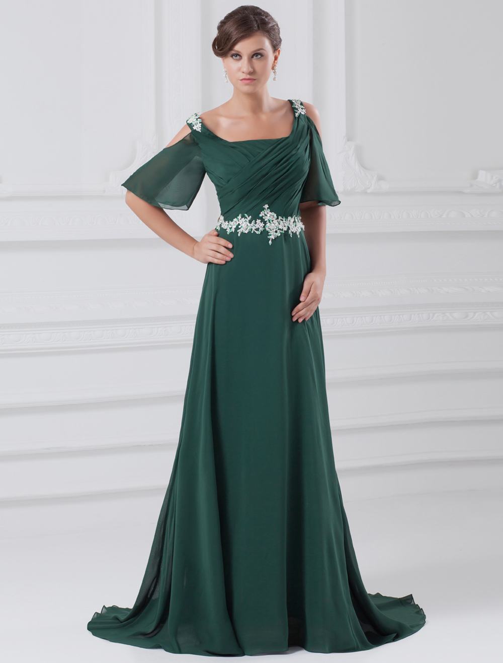 Dark Green Chiffon Evening Dress with Off-The-Shoulder Neck