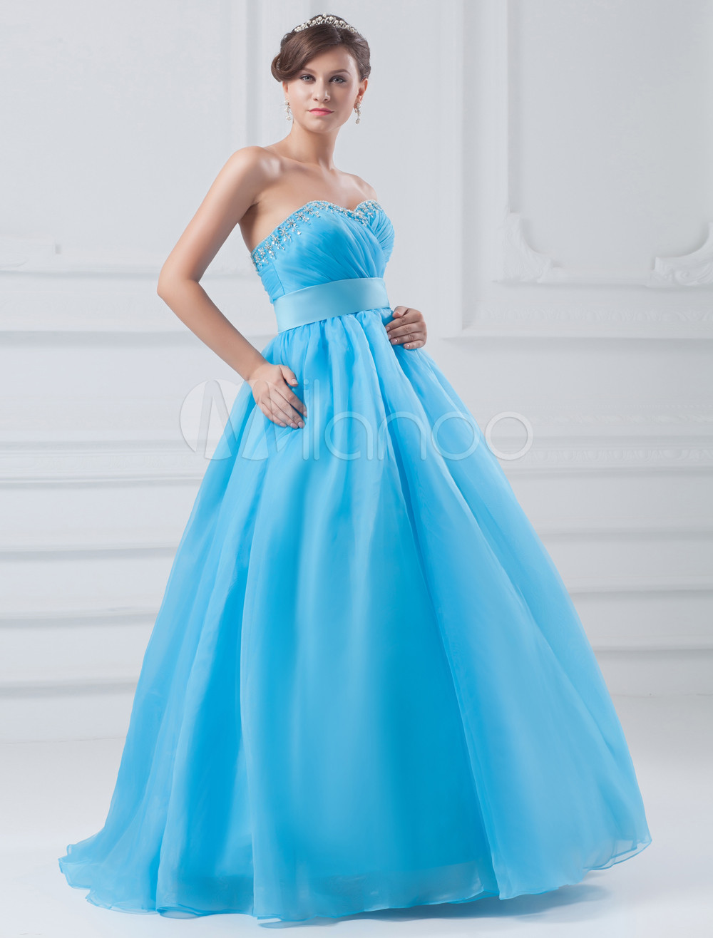 Buy Organza Prom Dress Aqua Sweetheart Ball Gown Quinceanera Dress Beading Empire Waist Floor Length Occasion Dress for $136.79 in Milanoo store