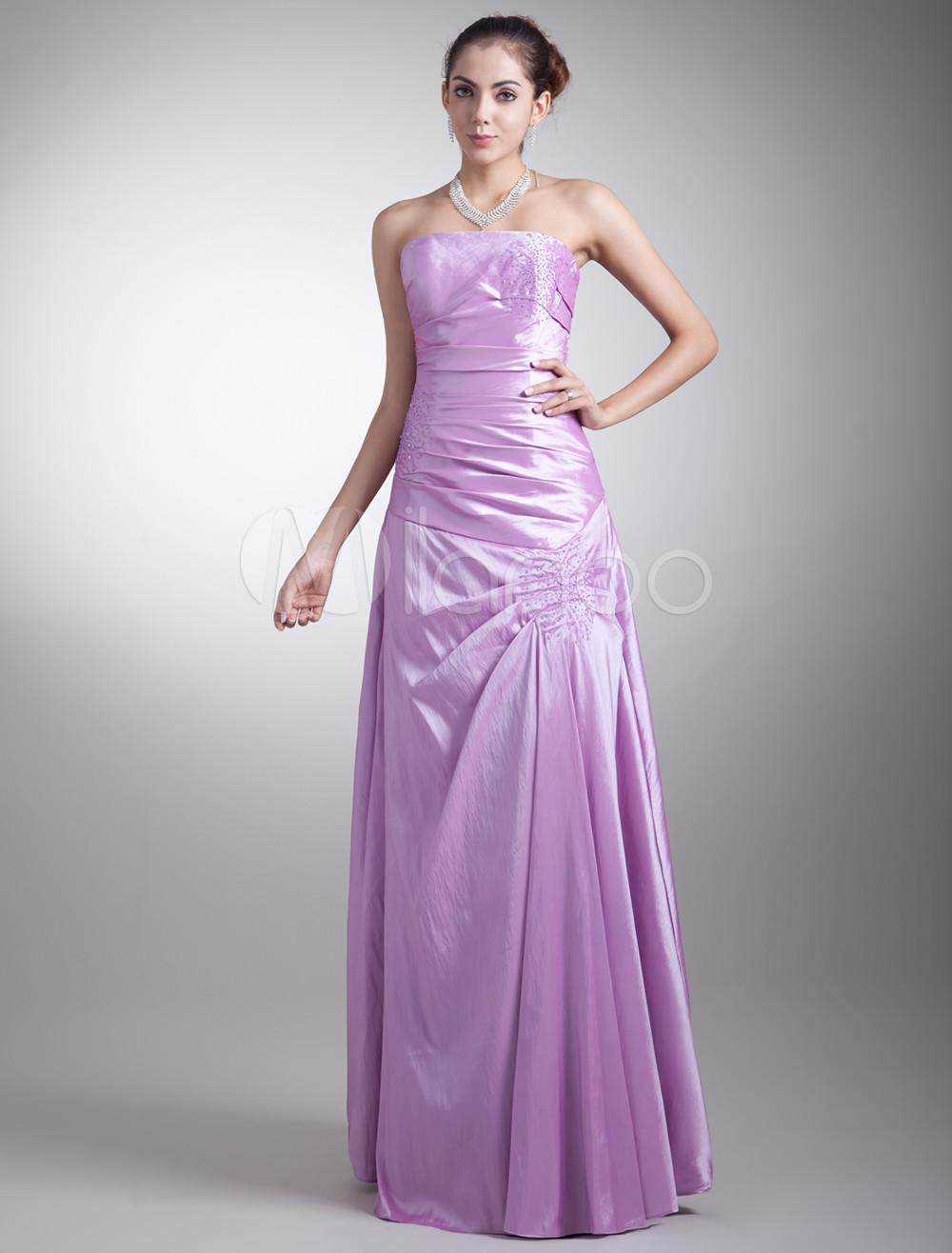 Vestido de damas de honor de tafetán de color lila sin tirantes ...