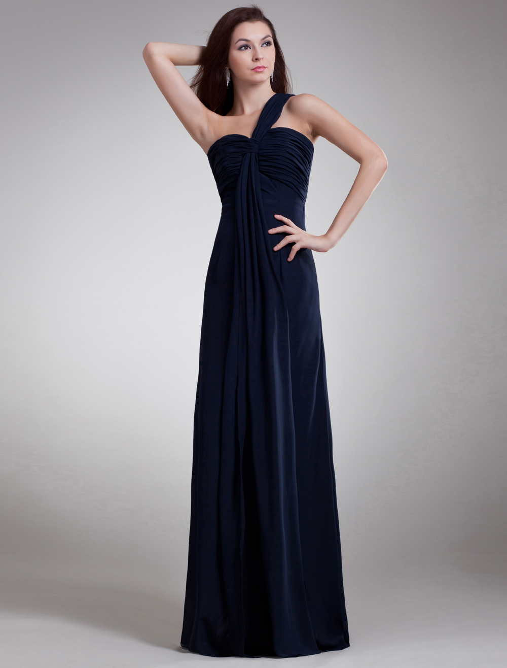 Buy Elegant Ball Gown Dark Navy Chiffon Long Evening Dress with Cascading Ruffle One-Shoulder for $108.89 in Milanoo store