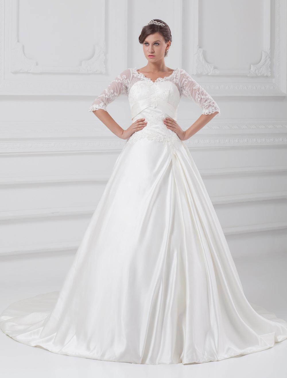 White A-line V-Neck Beading Taffeta Wedding Dress For Bride