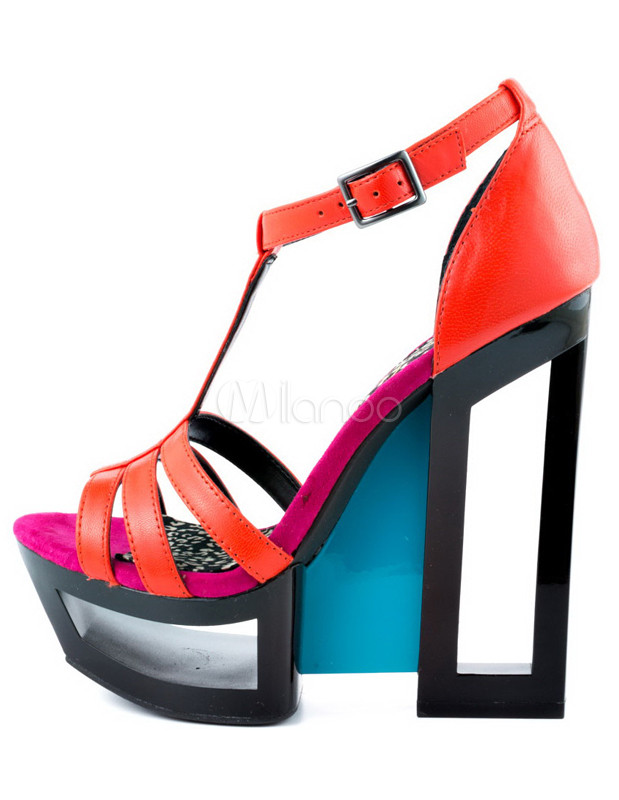 ... Multi Color T-Strap Color Block Wedge Shoes -No.2