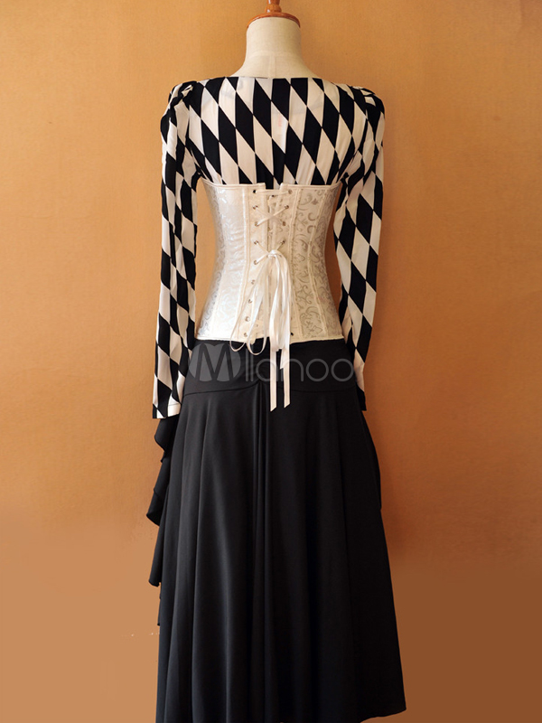 Black Steampunk Style Plaid Pattern Lolita Outfits