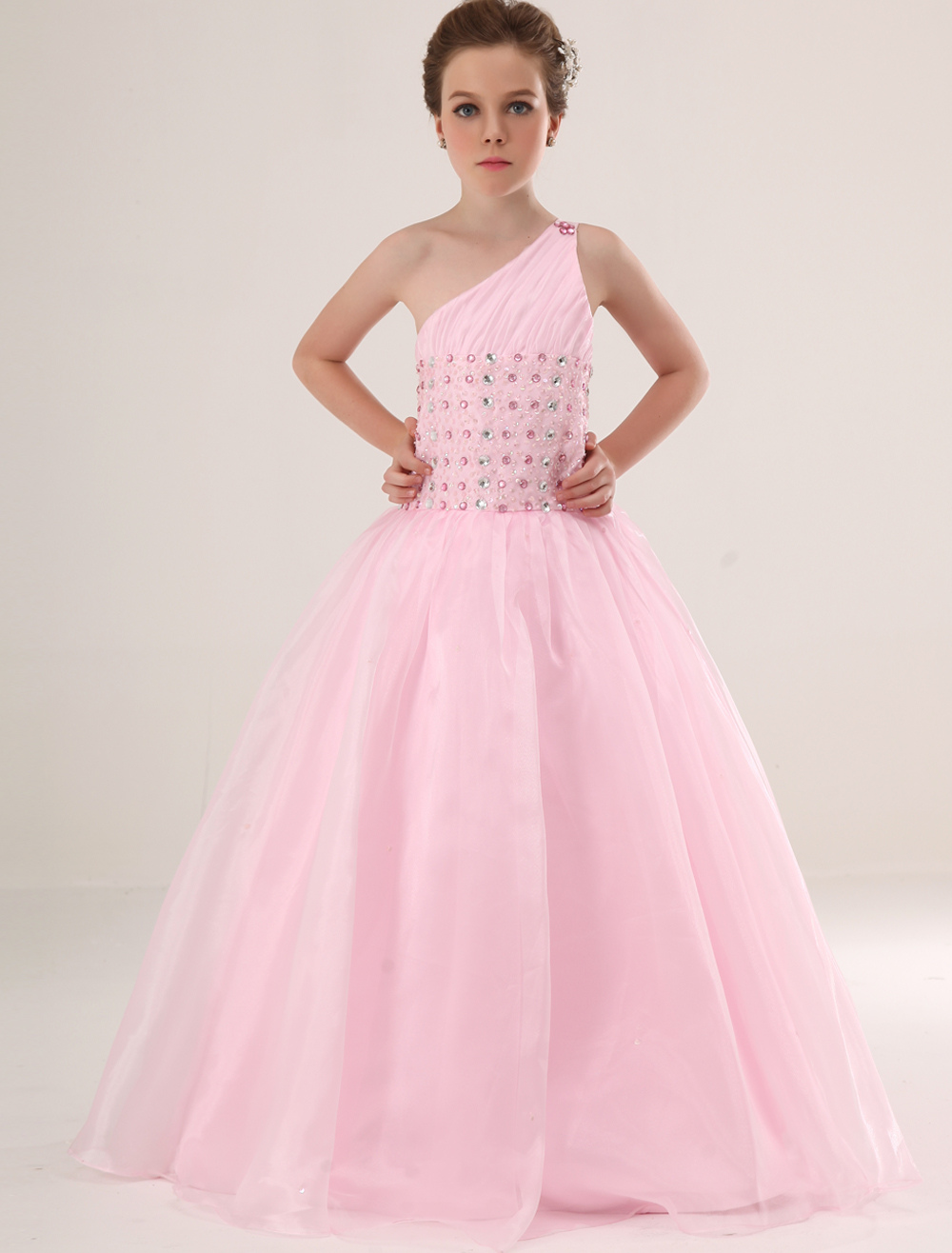 pink a line one shoulder satin floor length flower girl dress. Black Bedroom Furniture Sets. Home Design Ideas