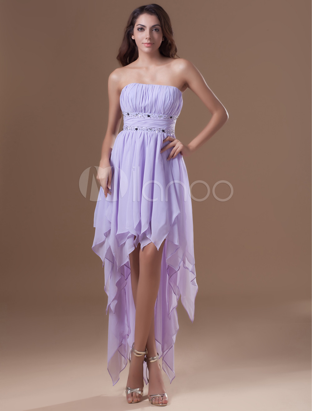 Short Prom Dress Lilac Strapless Chiffon Homecoming Dress High Low Rhinestones Beading Cocktail Dress