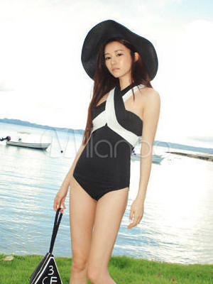 Triangle Yellow One Piece Swimwear for Women