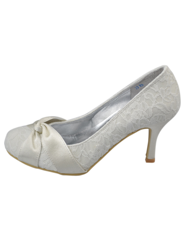 2de9bce3962 Fabulous Ivory Lace Round Toe Bridal Shoes - Milanoo.com