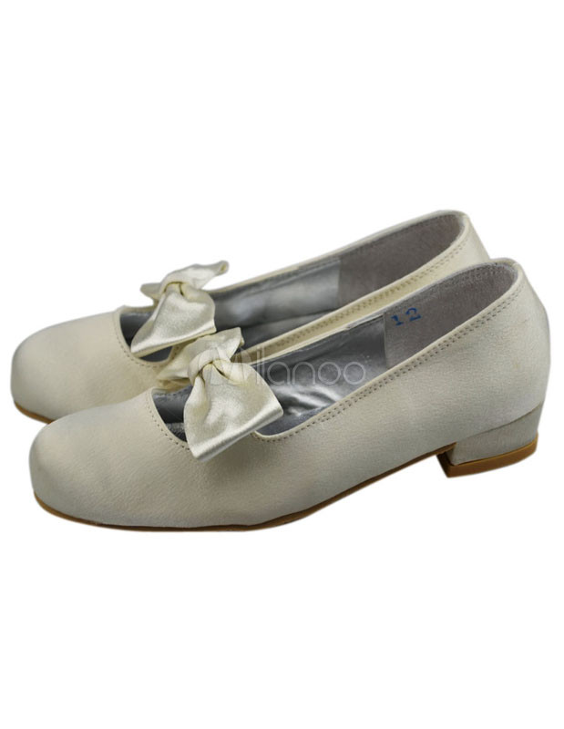 299453be840 Ivory Satin Face Bow Chunky Heel Flower Girl Shoes - Milanoo.com