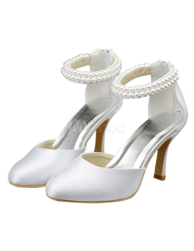 White 3 1/5u0027u0027 Heel Ankle Strap Satin Wedding Pumps No.