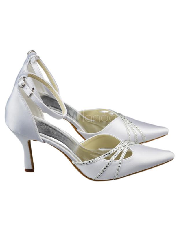 ... Chaussure de mariée en tissu blanc à talon aigu avec strass -No.5 ...