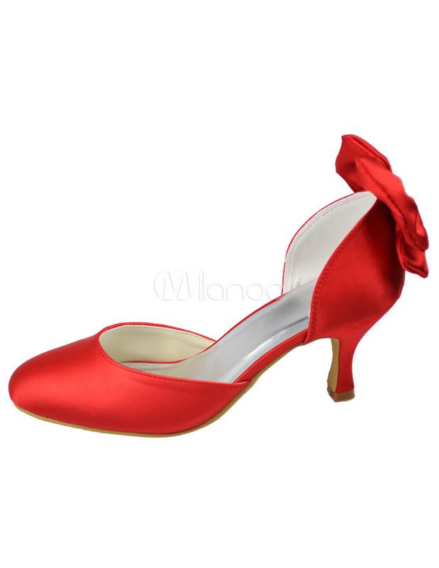 Beautiful Red 2 2/5'' Heel Satin Wedding Shoes - Milanoo.com