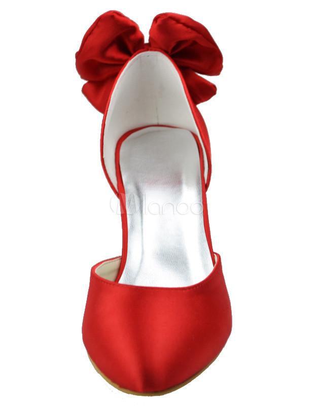 a3cdaf4ac4cd88 Chaussures de mariage en soie et satin rouge avec noeud - Milanoo.com