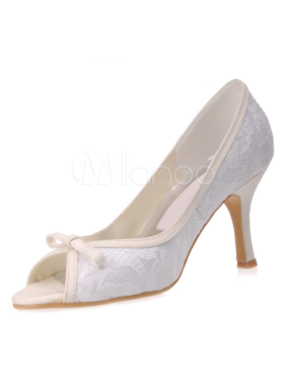 "Beautiful White Lace Satin 3 1 5"" High Heel Wedding Shoes"