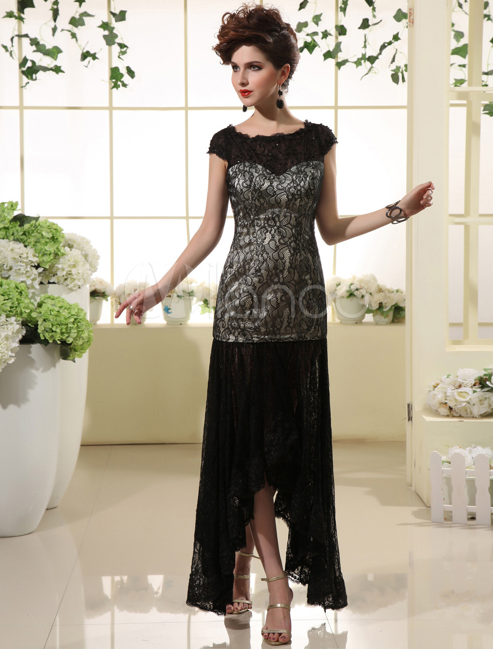 Elegant Sheath Black Lace Asymmetrical Women's Prom Dress Milanoo