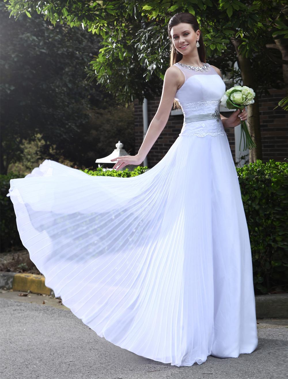 Graceful White A-line Jewel Neck Beading Chiffon Bridal Wedding Gown Milanoo