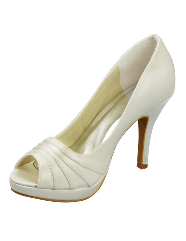 1e1adde9d Ivory Pleated Platform Peep Toe Satin Bridal Wedding Sandals-No.1 ...