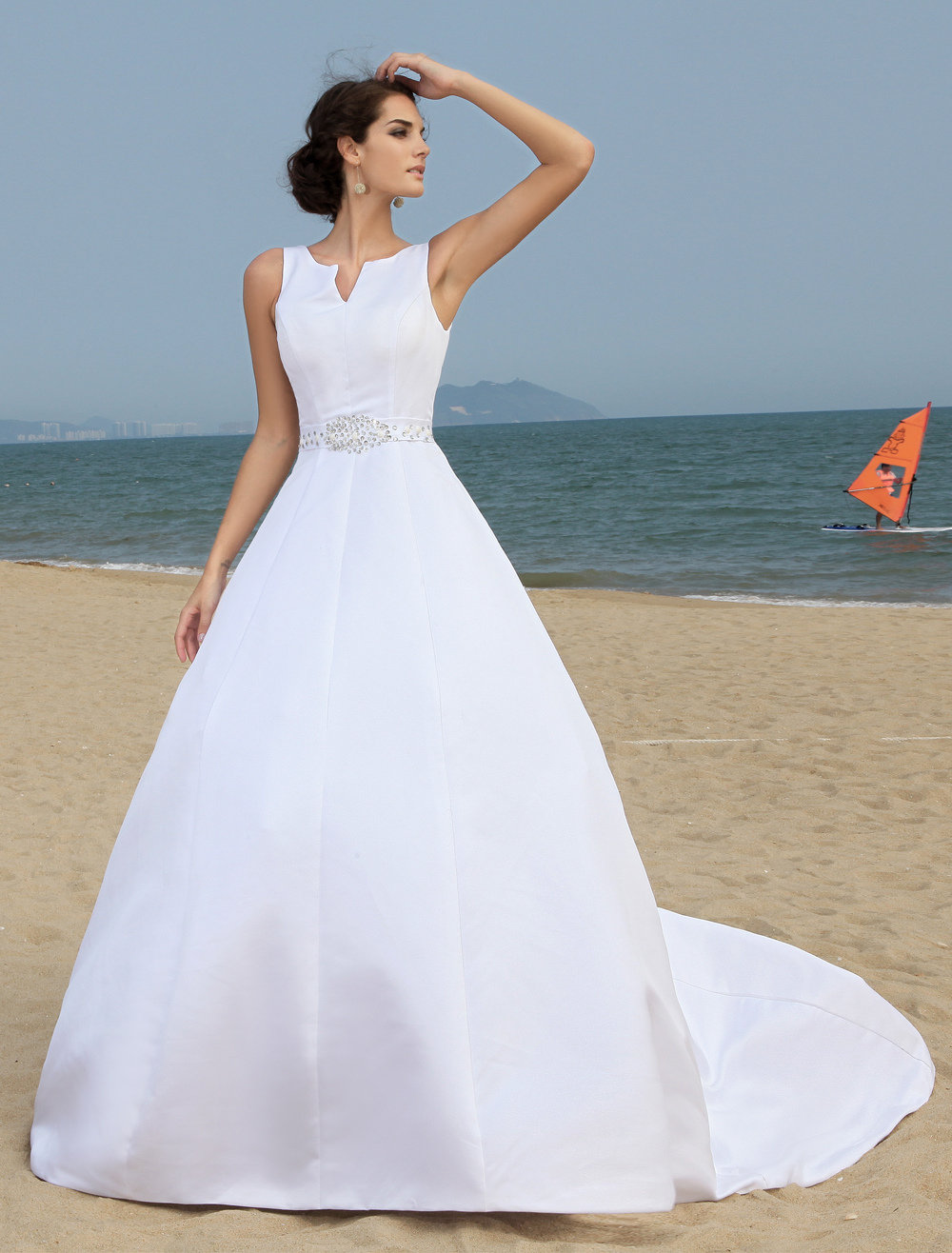Fashion A-line Satin Wedding Dress For Bride