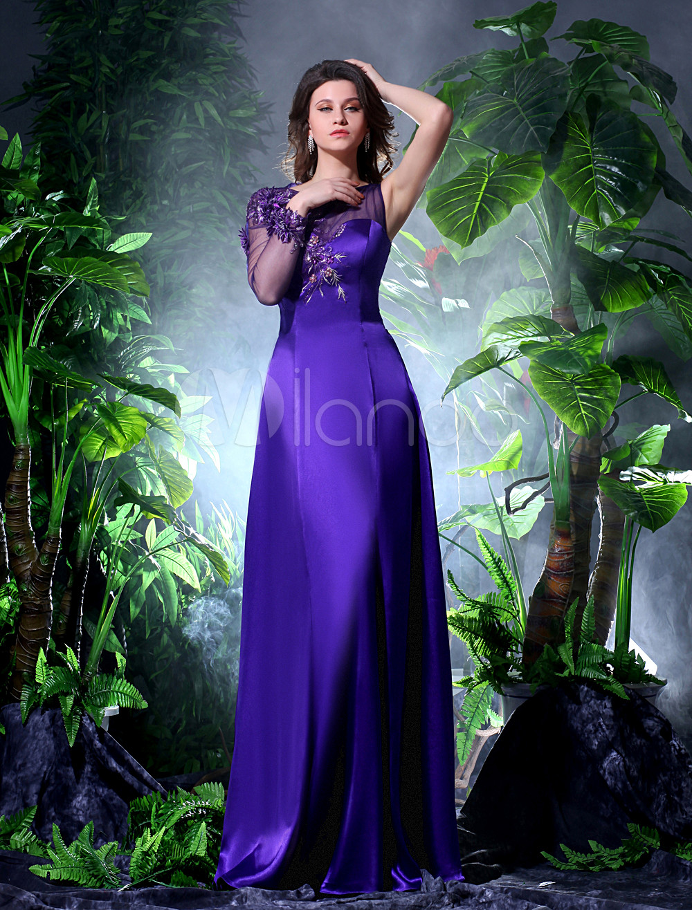 Elegant Applique Jewel Neck Sexy Evening Dress Milanoo